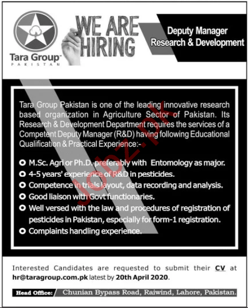 Tara Group Pakistan Jobs 2020 for Deputy Manager Research