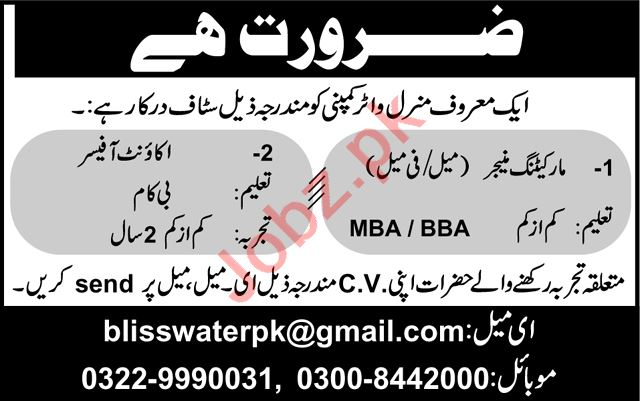 Account Officer & Marketing Manager Jobs 2020 in Lahore