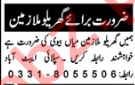 Domestic Staff Jobs Career Opportunity in Abbottabad