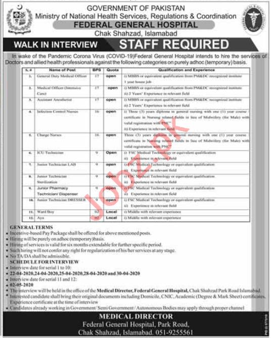 Federal General Hospital Chak Shahzad Islamabad Jobs 2020