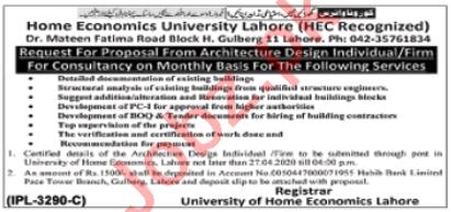 Home Economics University Lahore Jobs 2020 for Consultant