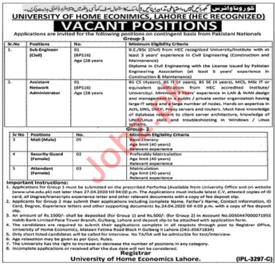 University of Home Economics Lahore Non Teaching Staff Jobs
