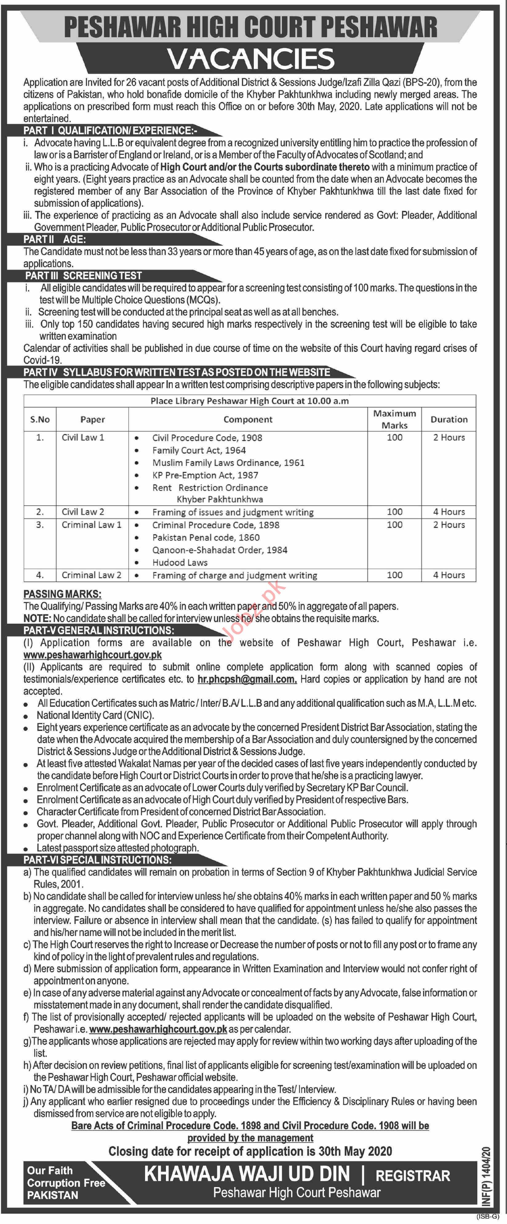 Additional District & Sessions Judge Job Peshawar High Court