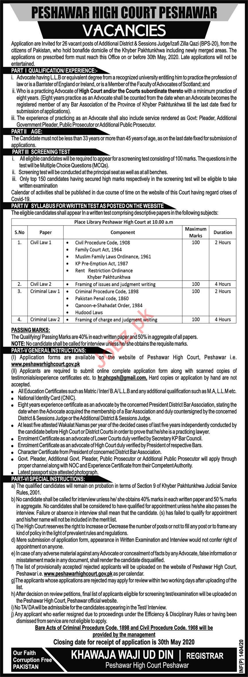 Peshawar High Court Jobs 2020 for Additional District Judge