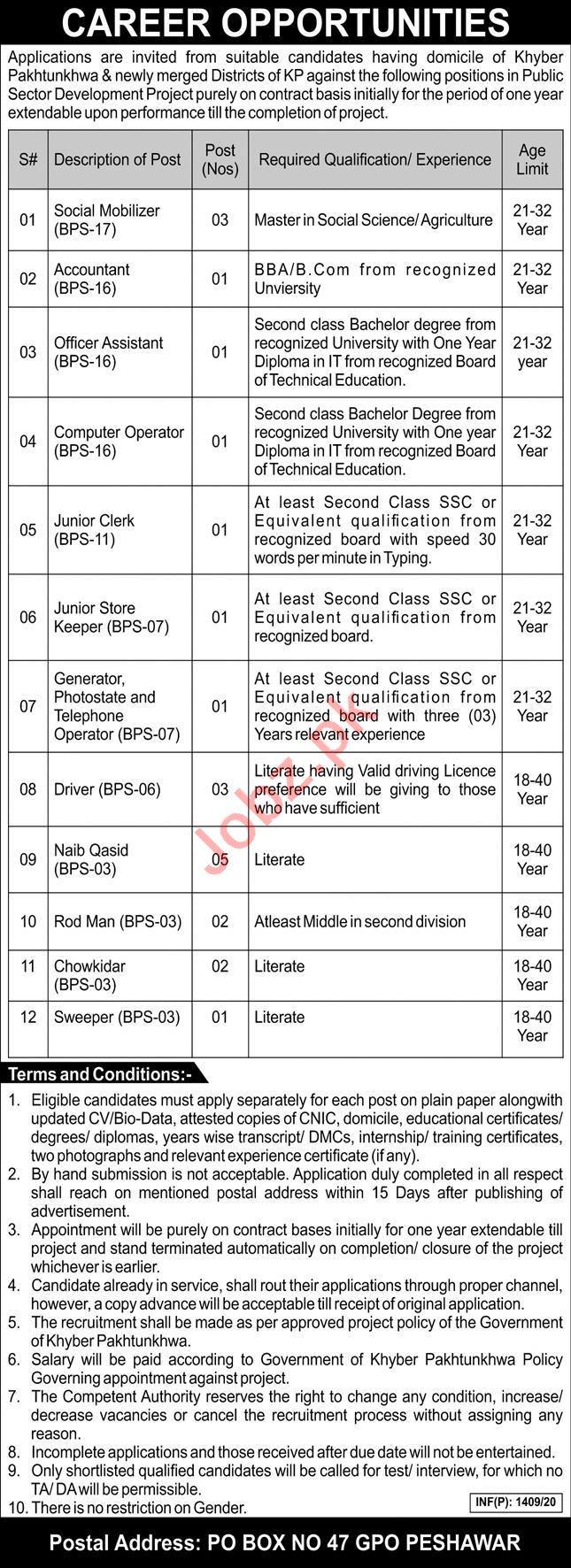 P O Box No 47 GPO Peshawar Jobs 2020