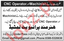 Hunarmand Taxila Jobs 2020 for CNC Operator & Machinist