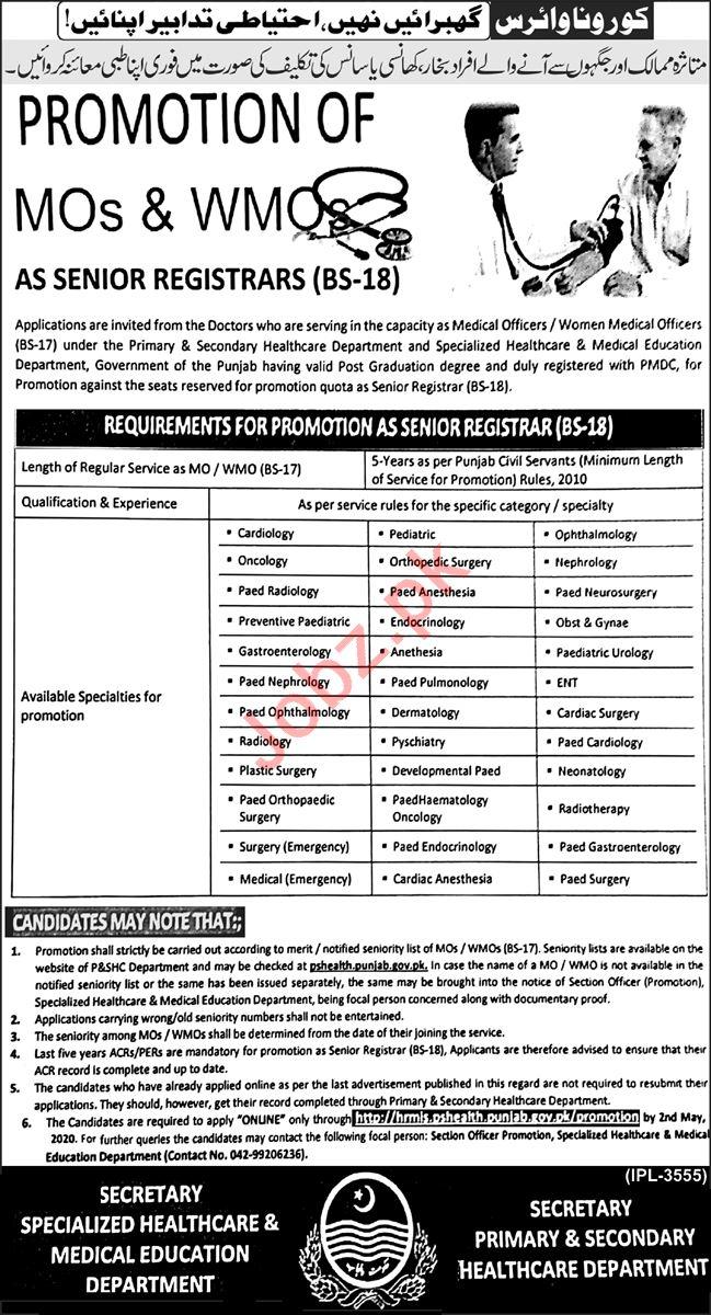 Registrar & Medical Officer Jobs 2020 in Health Department