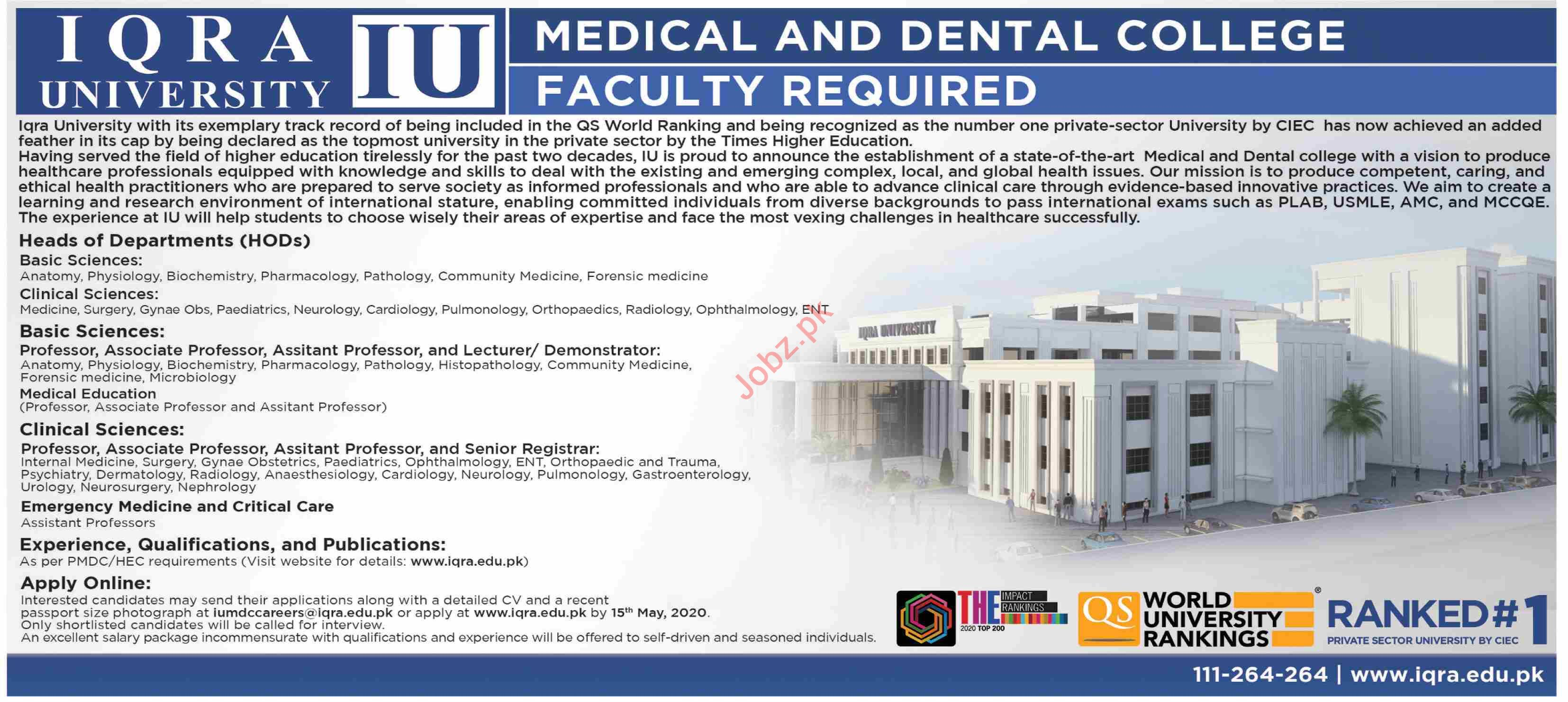 Iqra University Medical & Dental College Faculty Jobs 2020