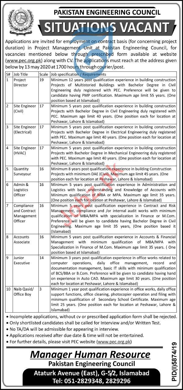 Pakistan Engineering Council PEC Jobs 2020 for Engineers