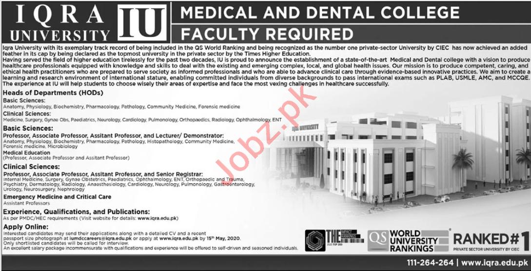 Iqra University Medical & Dental College Karachi Jobs 2020