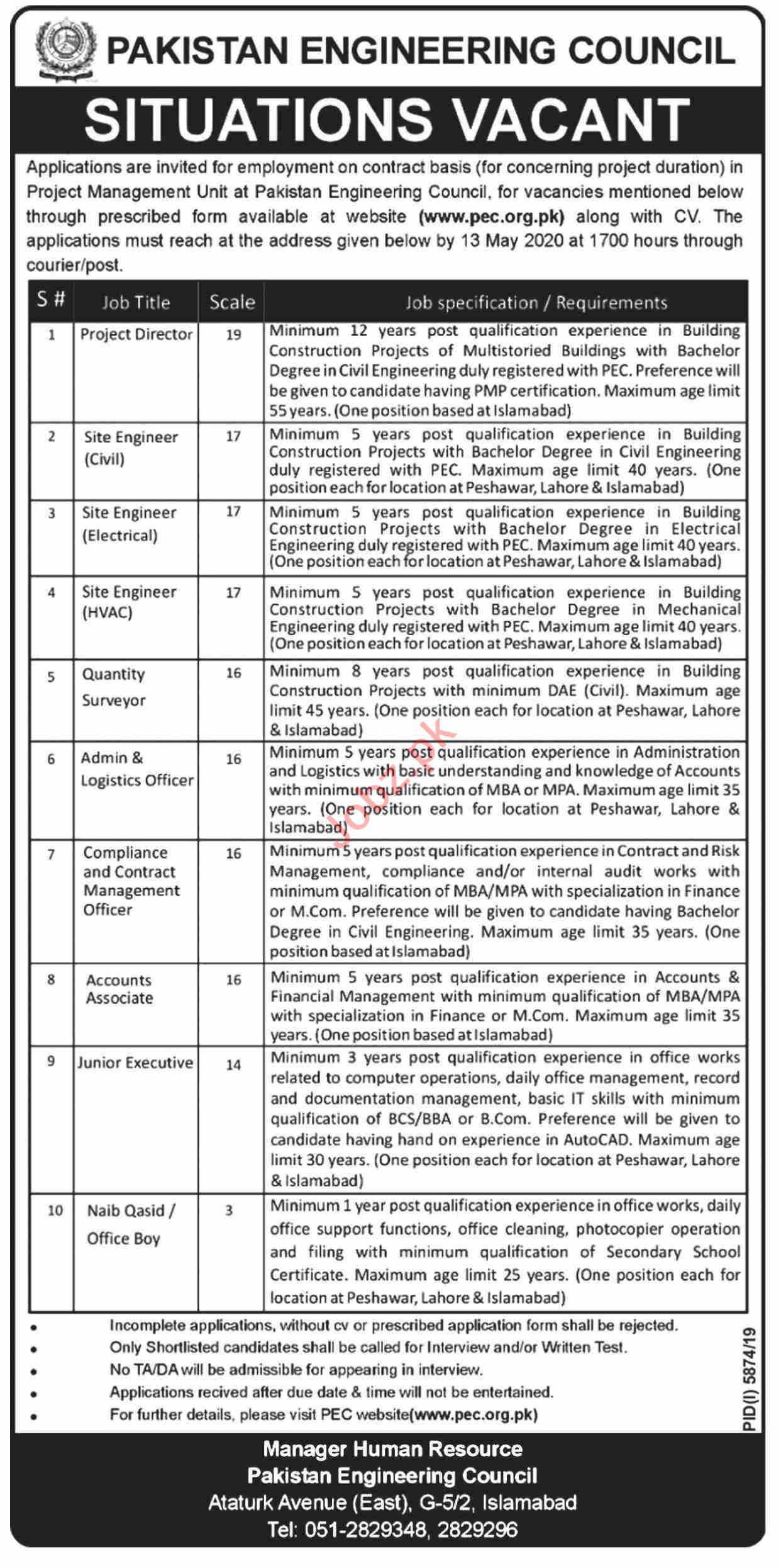 Site Engineers & Project Directors Jobs 2020 PEC Islamabad