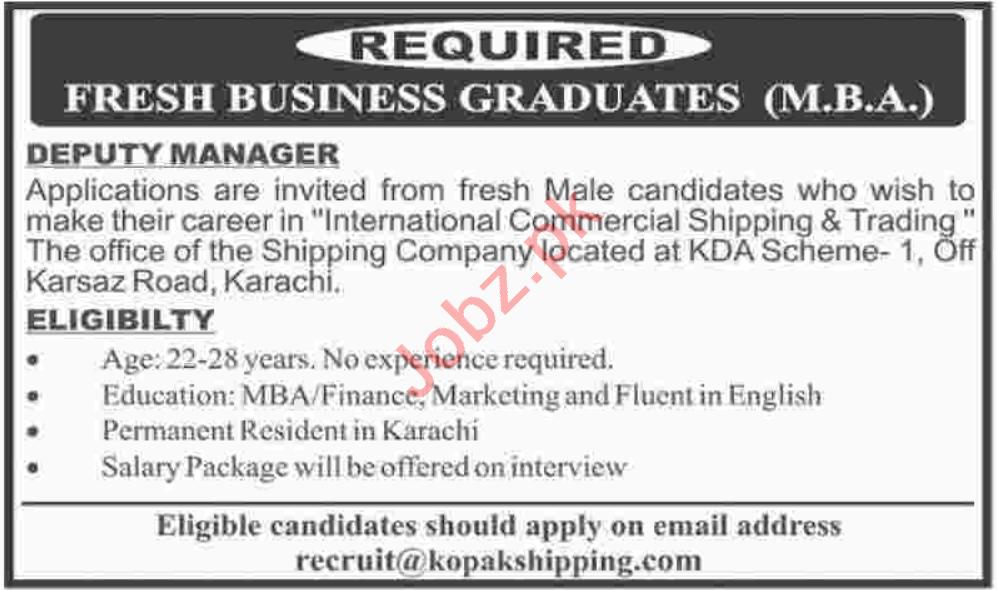 Deputy Manager & Business Development Manager Jobs 2020