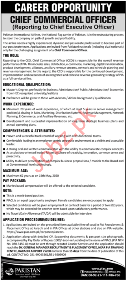 PIA Karachi Jobs 2020 for Chief Commercial Officer