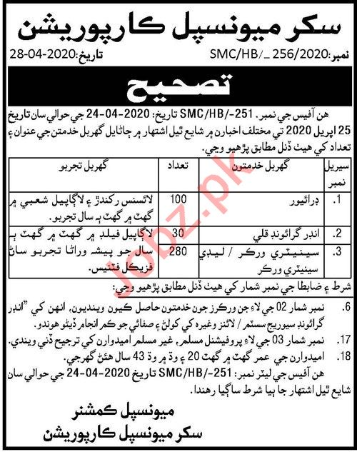 Sukkur Municipal Corporation MC Jobs 2020 for Sweepers