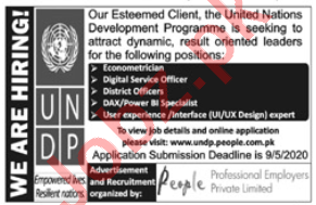 UNDP Islamabad Jobs 2020 for District Officer & UI Expert