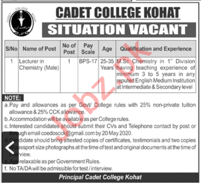 Cadet College Kohat Jobs 2020 for Lecturer in Chemistry