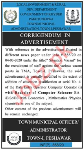 Town Municipal Administration TMA Peshawar Jobs 2020