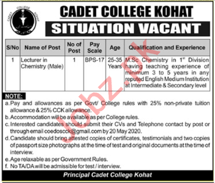Cadet College Kohat Jobs 2020 for Lecturers