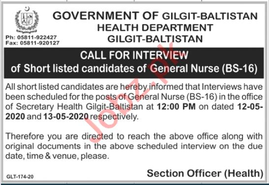 Health Department Gilgit Baltistan Jobs Interview 2020