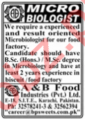 A&B Food Industries Karachi Jobs 2020 for Microbiologist