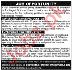 Supervisor Spice Production & Supervisor Tea Production Jobs