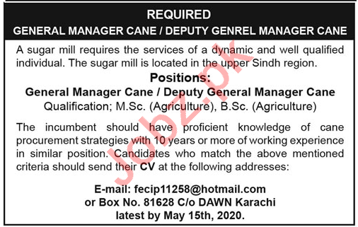 General Manager Cane & Deputy General Manager Cane Jobs