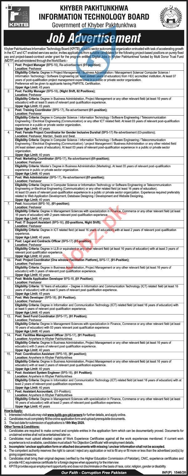 Khyber Pakhtunkhwa Information Technology Board KPITB Jobs