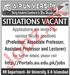 Air University AU Islamabad Jobs 2020 for Professors