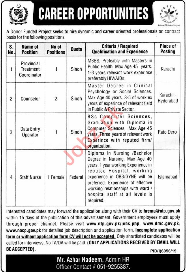 National TB Control Programme NTP Jobs 2020 for Counselor