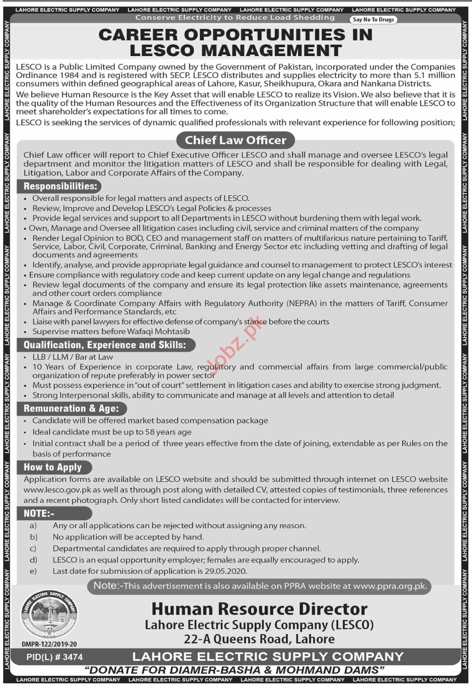 LESCO Jobs 2020 for Chief Law Officer
