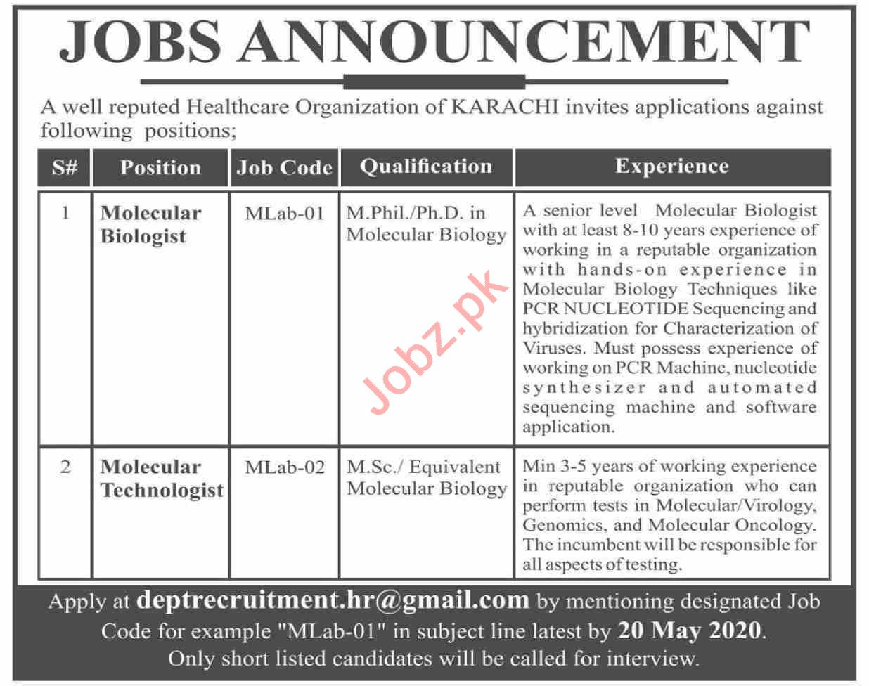 Molecular Biologist & Molecular Technologist Jobs 2020