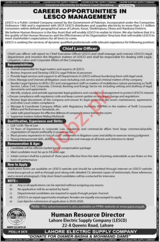 Chief Law Officer Jobs in Lahore Electric Supply Company