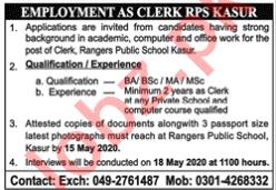 Rangers Public School Kasur Jobs 2020 for Clerk