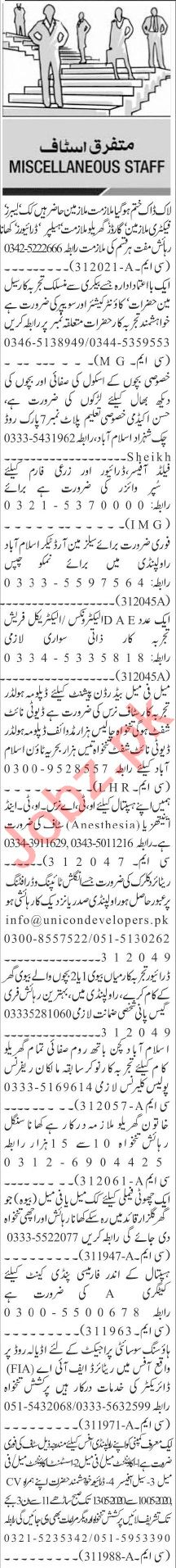 Jang Sunday Classified Ads 10 May 2020 for Admin Staff