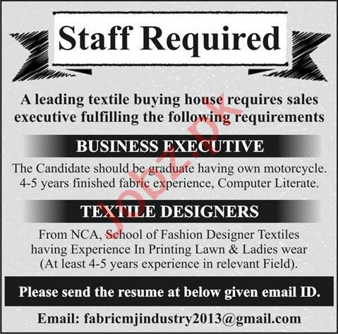Business Executive & Textile Designer Jobs 2020 in Lahore