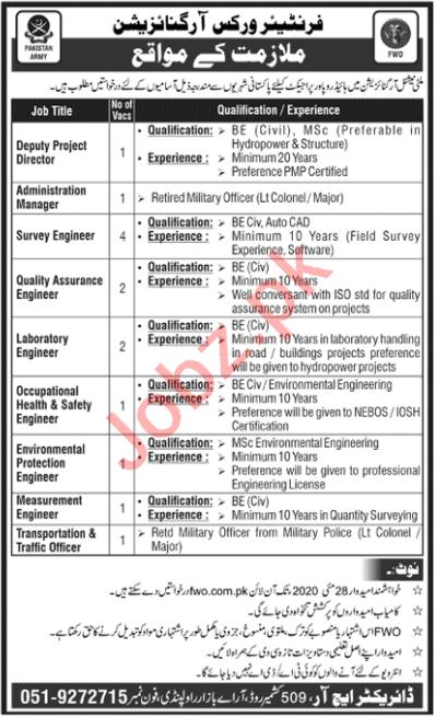 FWO Rawalpindi Jobs 2020 for Engineers & Directors