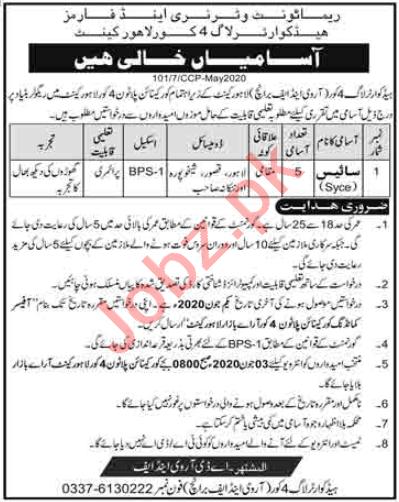 Remount Veterinary & Farms RV&F Branch Lahore Cantt Jobs