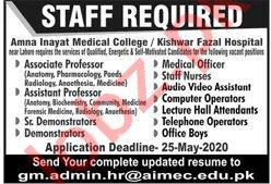Amna Inayat Medical College Jobs 2020 for Professors