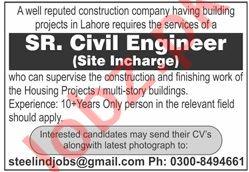 Senior Civil Engineer & Site Incharge Jobs 2020 in Lahore