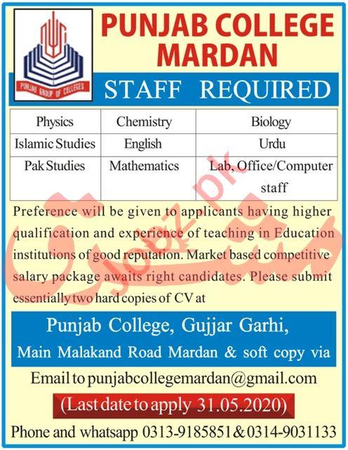 Punjab College Gujar Garhi Jobs 2020 for Teachers