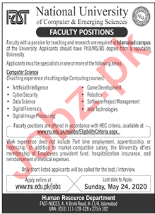 FAST National University Islamabad Campus Jobs 2020