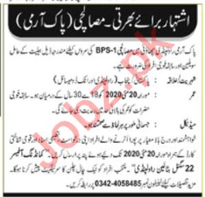 Pakistan Army 22 Signal Battalion Rawalpindi Jobs 2020