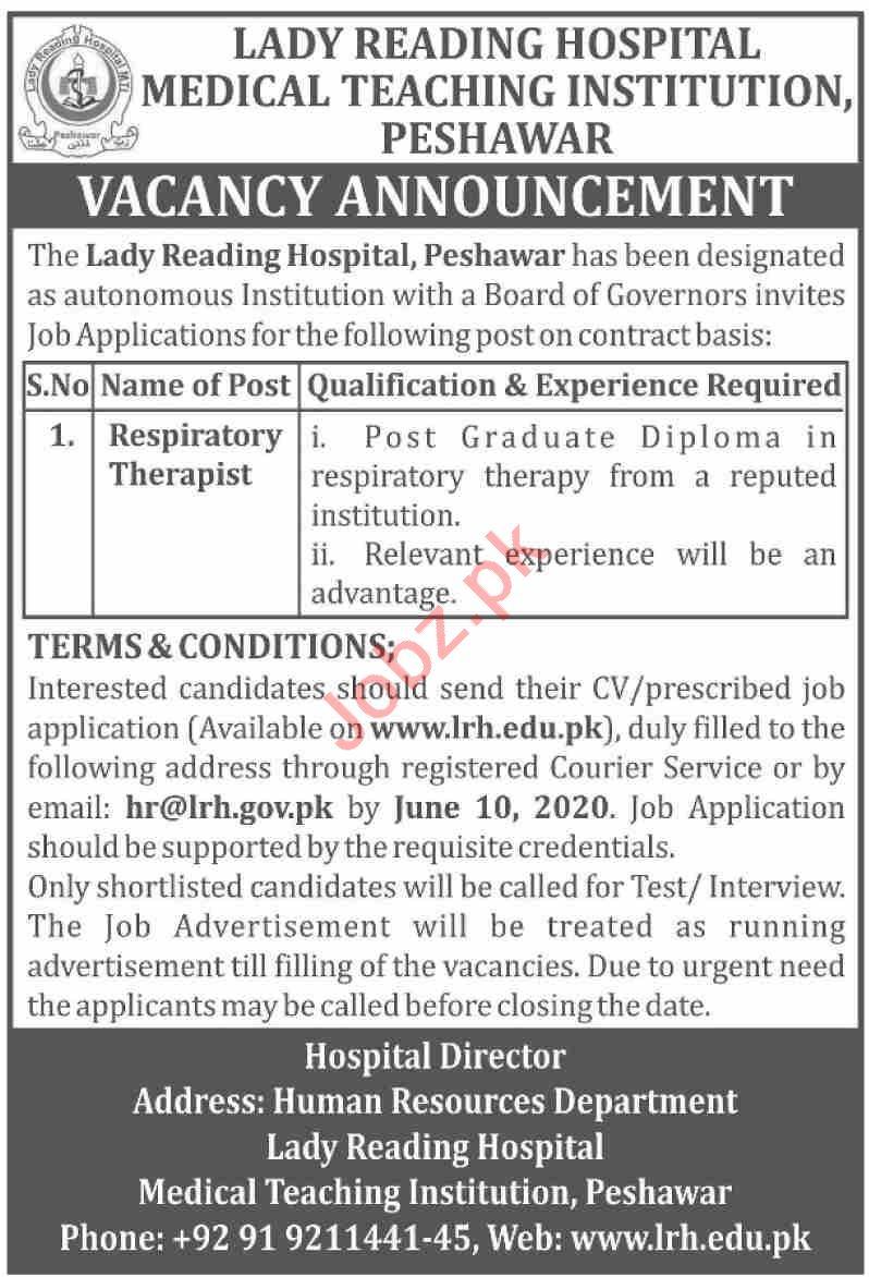 Lady Reading Hospital LRH Jobs 2020 Respiratory Therapist