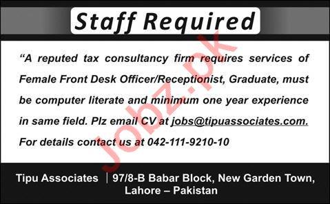 Female Front Desk Officer & Receptionist Jobs 2020