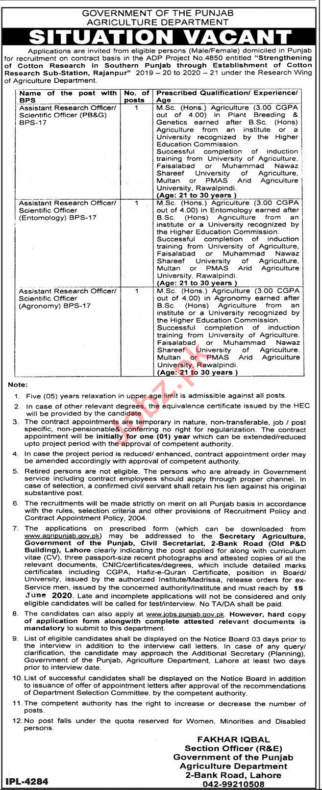 Cotton Research Sub Station Rajanpur Jobs Research Officer