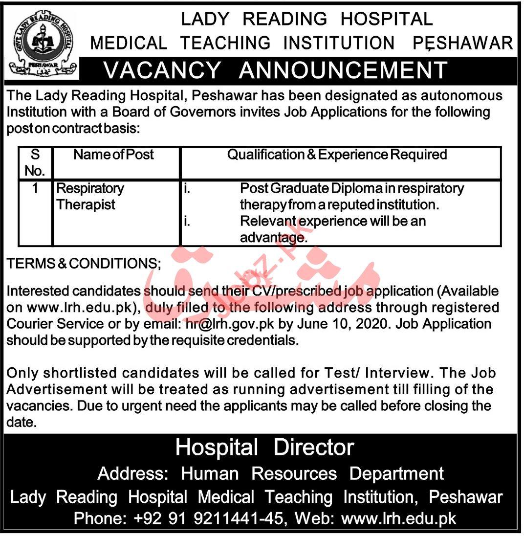 MTI LRH Lady Reading Hospital Jobs 2020