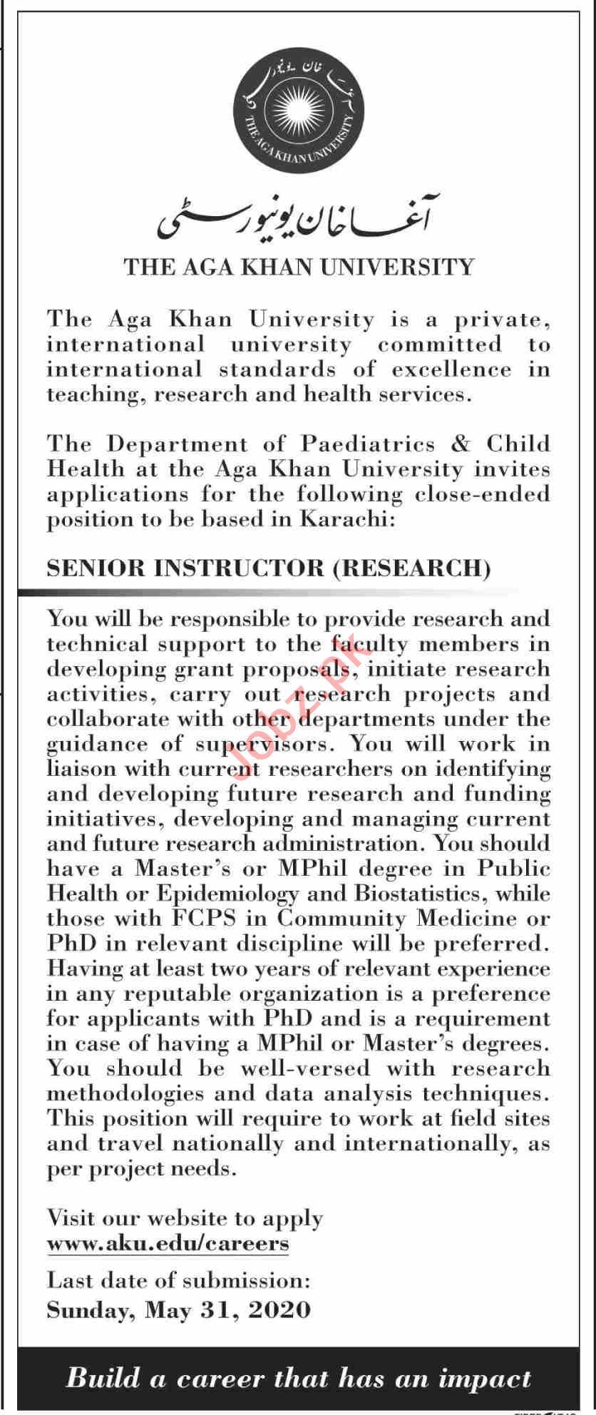 The Aga khan University AKU Karachi Jobs 2020 for Instructor