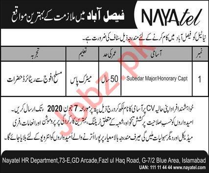 Nayatel Faisalabad Jobs 2020 for Subedar Major