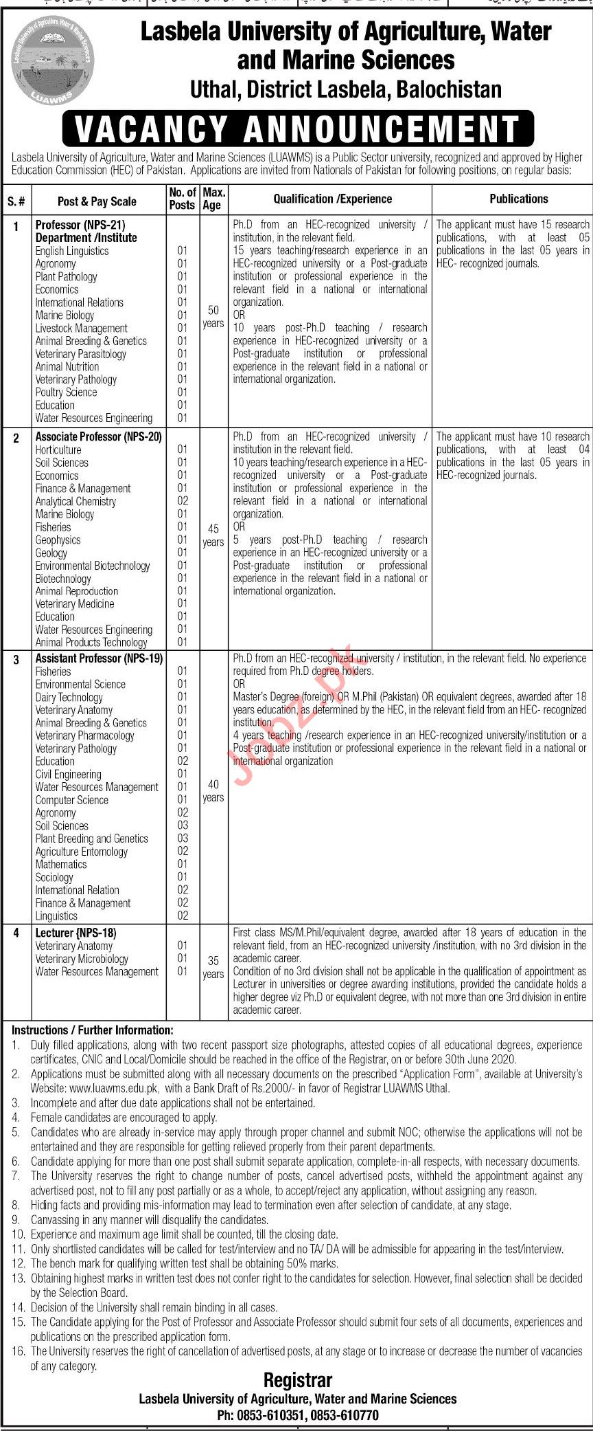 LUAWMS University Jobs 2020 for Professors & Lecturers