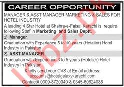 Hotel Galaxy Karachi Jobs 2020 for Manager & Asst Manager